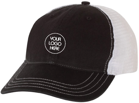 Garment-Washed Trucker Hat- Black Front
