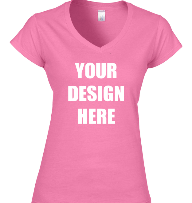 Design Online Custom Printed Gildan Softstyle Women s V-Neck T-Shirt ... 7a6b013b2
