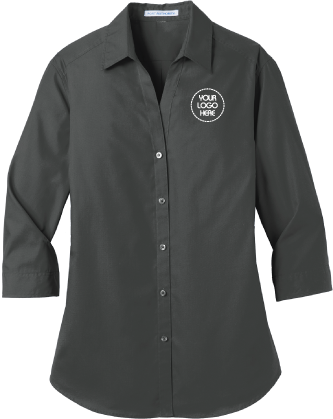Ladies Three Quarter Sleeve Button Down Shirt | Oxford Style Shirt