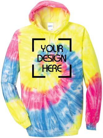 Neon Rainbow Tie-Dyed Hoodie   Tie Dye Sweatshirt