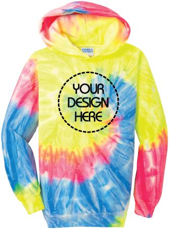 Youth Neon Rainbow Tie-Dyed Hoodie   Tie Dye Sweatshirt